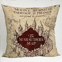 The Marauders Map Harry Potter Pillow Cases (16x16 one side)