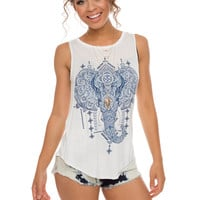 Ellie Elephant Top - White