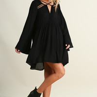 Baby Doll Fall Dress - Black