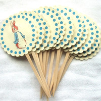 Peter Rabbit Cupcake Picks - Cupcake Toppers - Baby Shower - Birthday Party