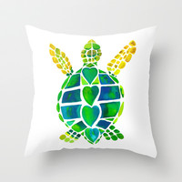 Turtle Love Throw Pillow by Catherine Holcombe