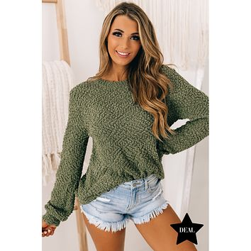 Falls Embrace Popcorn Knit Sweater (Light Olive)