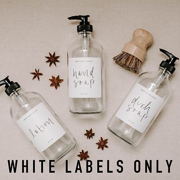White Labels for Plastic and Glass Dispensers