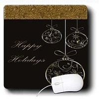Bev Newcomer Christmas Designs - Elegant Chocolate Brown and Gold Ornament Happy Holidays Christmas Design - MousePad (mp_113893_1)
