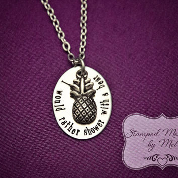 """Psych Fan - """"I would rather shower with a bear"""" - Hand Stamped Stainless Steel Necklace - Shawn, Gus and Lassiter - Geekery - Pineapple"""