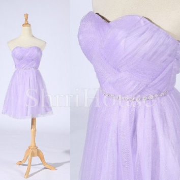 Ruffled Sweetheart Strapless Lace-up Short A-line Sleeveless Bridesmaid Celebrity Dress , Mini Tulle Evening Party Prom New Homecoming Dress