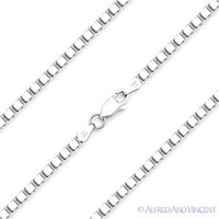 Solid .925 Italy Sterling Silver Gauge 60 3mm Box Link Italian Chain Necklace