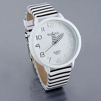 Women Fashion Color Stripes Strap Round Case Casual Wrist Watch Watches = 1932012164