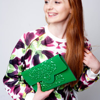 Eco friendly clutch, green colored purse bag, slim green clutch, perfect evening handbag for special occassions