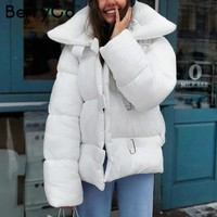 BerryGo Turndown collar square buckle winter women coat parka Casual white bomber down jacket Winter warm thick outerwear