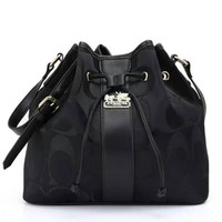 COACH Women Shopping Leather Handbag Tote Satchel Shoulder tassel Bag Black