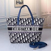 DIOR Personalized letter embroidered one shoulder shopping bag