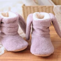 Rabbit Ears Decoration High Top Fleece Flat Slipper in Light Purple or Pink