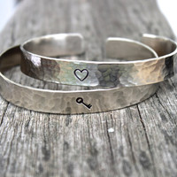 Couples Jewelry Set: You Hold the Key to My Heart Inspirational Hand Stamped Bracelet Bangle Cuff, Available as a Set of Two Key and Heart
