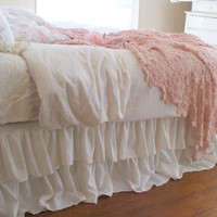 Shabby Chic Bedding Romantic Tiered Ruffle Dust Ruffle Bed Skirt Queen Size Off White Linen