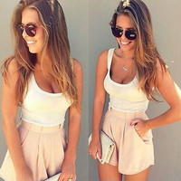 2016 Summer 2 Pieces Clothes Set Women Short Sleeve Shorts and Crop Tops Casual Outfit