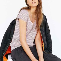 BDG Striped V-Neck Tee-