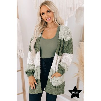 Give A Little Love Striped Popcorn Knit Cardigan (Light Olive)