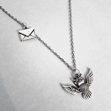Owl Post Necklace. Harry Potter Inspired Necklace. 20 Inch Silver Tone Chain.