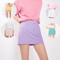 Fashion Sexy Deckle Edge Package Hip Skirt Candy color Cowboy Skirt
