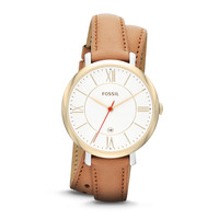 Jacqueline Three-Hand Date Leather Watch - Tan