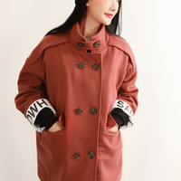 Red Long Sleeve Wool Coat with Buttons
