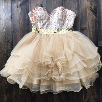 Glitter Sweetheart Strapless Homecoming Party Dress