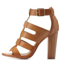 Cognac Chunky Wooden Gladiator Heels by Charlotte Russe