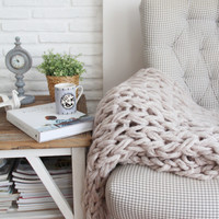 Chunky Blanket / Throw - Light Beige, Hand Knit  (140x150 cm/55x60 inches) - available in 3 colors