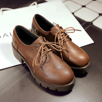 England Style Round-toe Thick Crust Korean With Heel Shoes [6366208260]