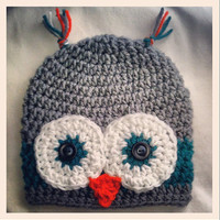"Grey and Teal Owl hat Newborn, 0-3, 3-6, 6-9 Months  Baby Shower Gift, Infant, Perfect Photo Prop ""Owl always love you"""