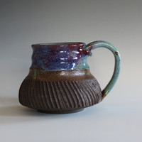 Pottery Coffee Mug, 12 oz, handthrown ceramic mug, stoneware pottery mug, unique coffee mug