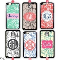 Personalized Samsung Galaxy S5 case Monogram Apple iPhone 5 cover S3 S4 5C 4S