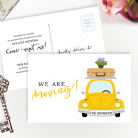 PRINTED Moving announcements | We're moving cards | 4X6 moving cards with car | Change of address cards cheap | Pack of 50