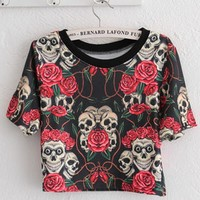 Cropped Rose And Skull Print T-shirt