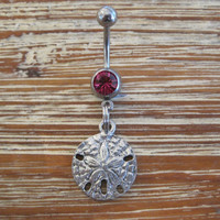 Belly Button Ring - Body Jewelry -Sand Dollar with Dark Pink Gem Stone Belly Button Ring