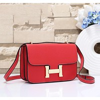 Hermes Women Fashion New Leather Crossbody Shopping Leisure Shoulder Bag Red