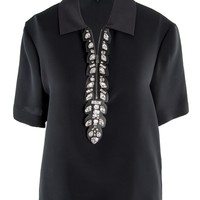 Fendi Black Crepe Blouse with Glass Neckline 6