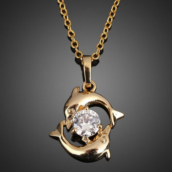 Playing Couple Dolphin Crystal Necklace Lady Pendant Chain Jewelry Gold  SKL2 = 1930150532