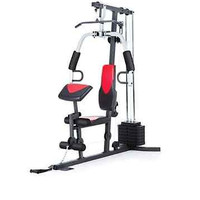 Home Gym System Machine Weider 214lb Stack Total Fitness Workout Pulley Lat Bar