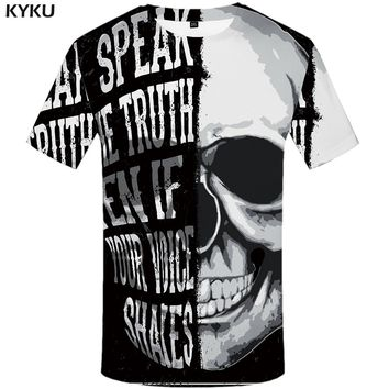 KYKU Skull Tshirt Men Black And White T-shirt Punk Rock Clothes Gothic 3d Print T Shirt Cool Hip Hop Mens Clothing Streetwear