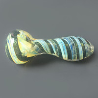 Green Glitter Swirl Color Changing Glass Spoon Pipe
