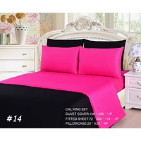 Tache 4-6 Piece Pink Superstar/ Black Reversible Duvet Cover Set (DC46PC-PB)