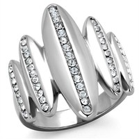 Crystal Stainless Steel Cocktail Ring