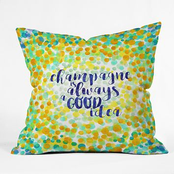Hello Sayang Champagne is Always A Good Idea Outdoor Throw Pillow