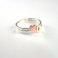 Custom Initial Ring, Copper Heart And Brass Personalized Initial Ring Set Of 2