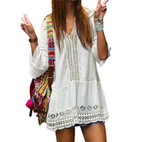 Lace Dress Summer Style V neck Flare Sleeve Crochet Hollow Out White Mini Dress Female Boho Beach