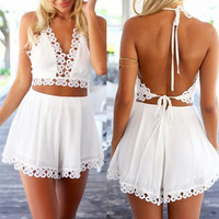 White Shorts and Halter Top Set