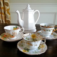 Antique yellow floral tea party trio, 3 tea cups and saucers, tea set including Royal Albert Crown China