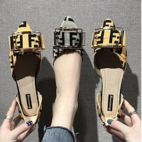 FENDI Fashion Women Casual F Letter Pointed Buckle Flats Single Shoes